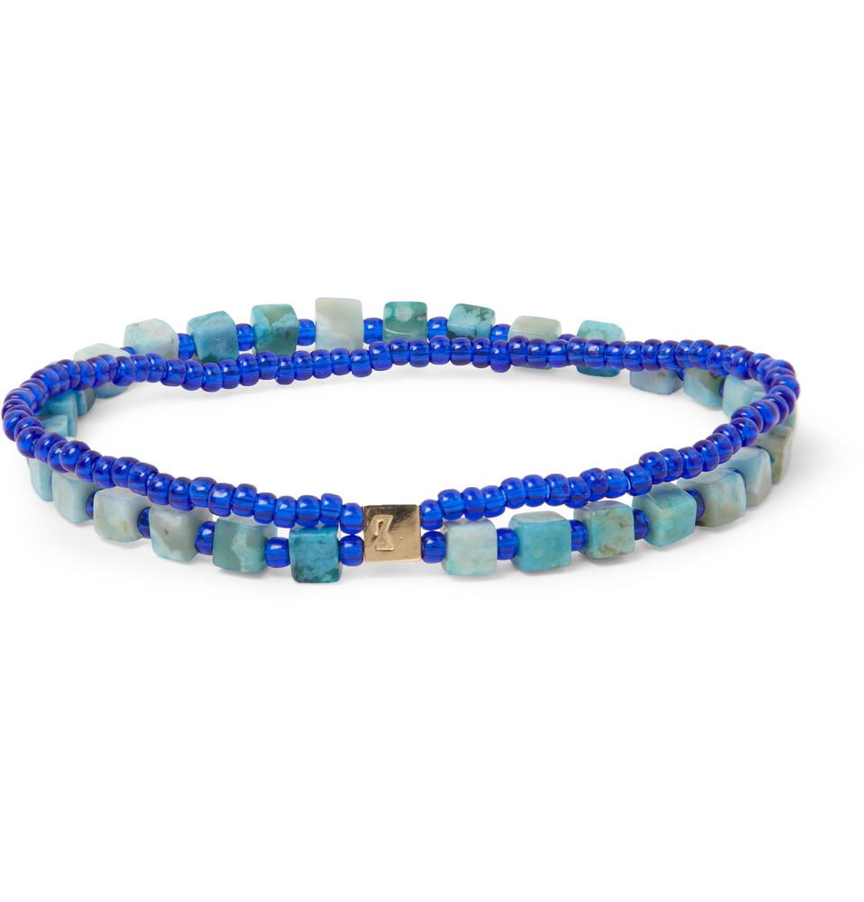 Luis Morais Glass And 14-karat Gold Bracelet - Blue cggMa