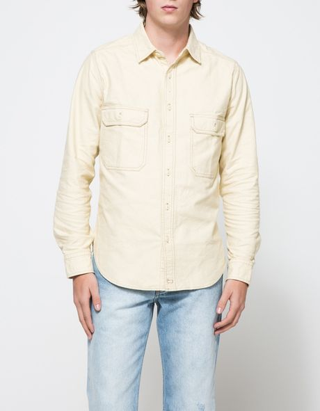 Woolrich White Collection Chamois Shirt in Yellow for Men ...