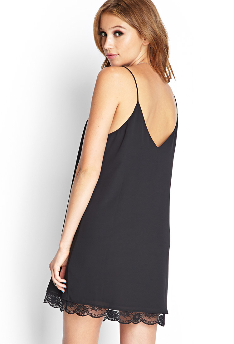 Lace trim slip dress forever 21