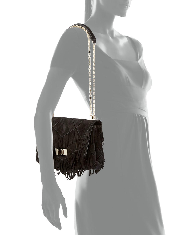 Lyst - Roger Vivier Prismick Fringe Bag in Black 562cc12fd93e7