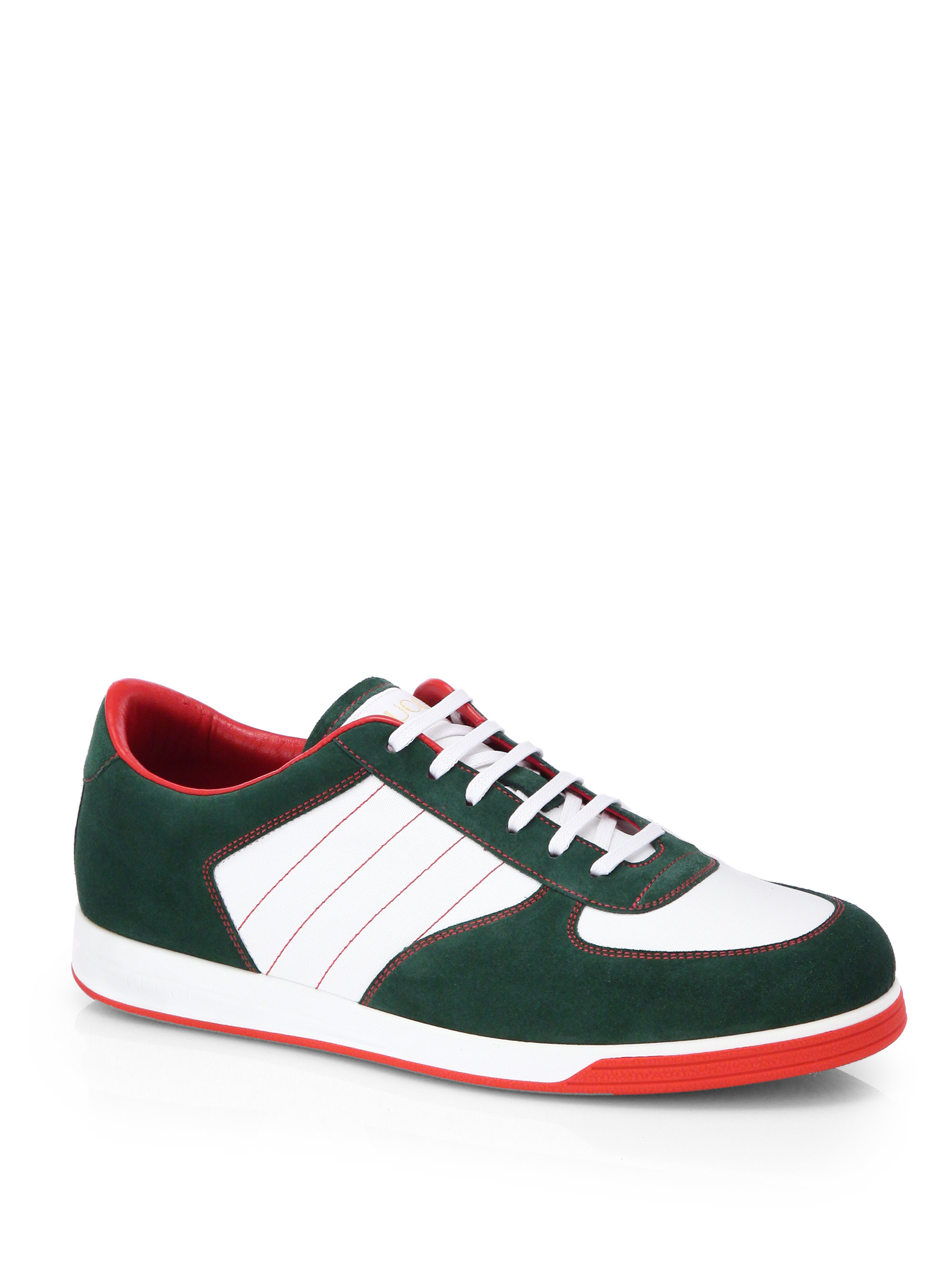 gucci suede anniversary sneakers in green for men lyst. Black Bedroom Furniture Sets. Home Design Ideas