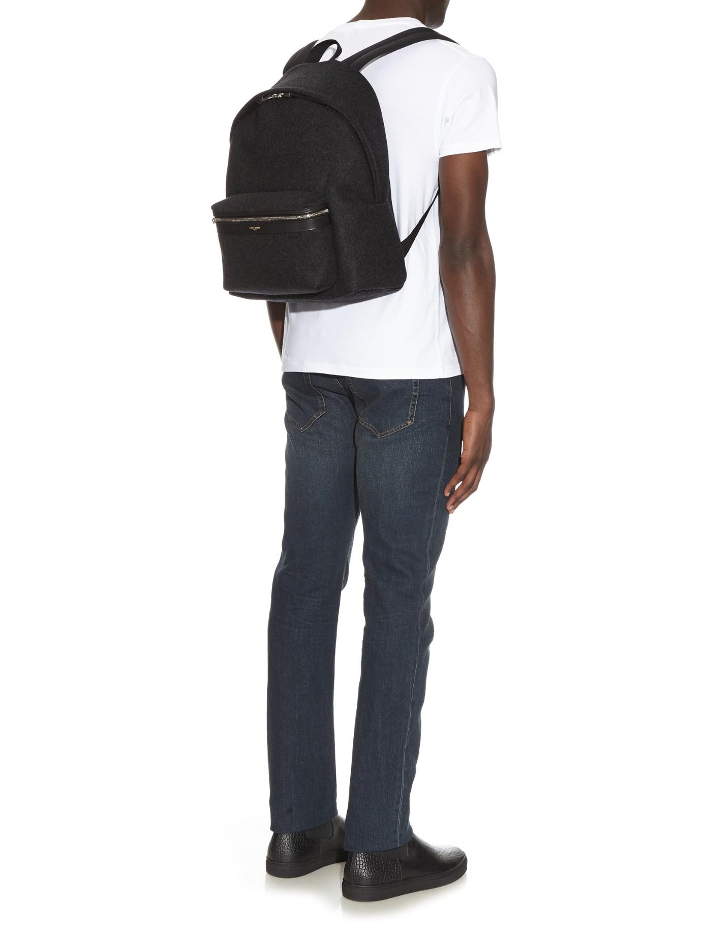 fb24e448ff Lyst - Saint Laurent Flannel Backpack in Gray for Men