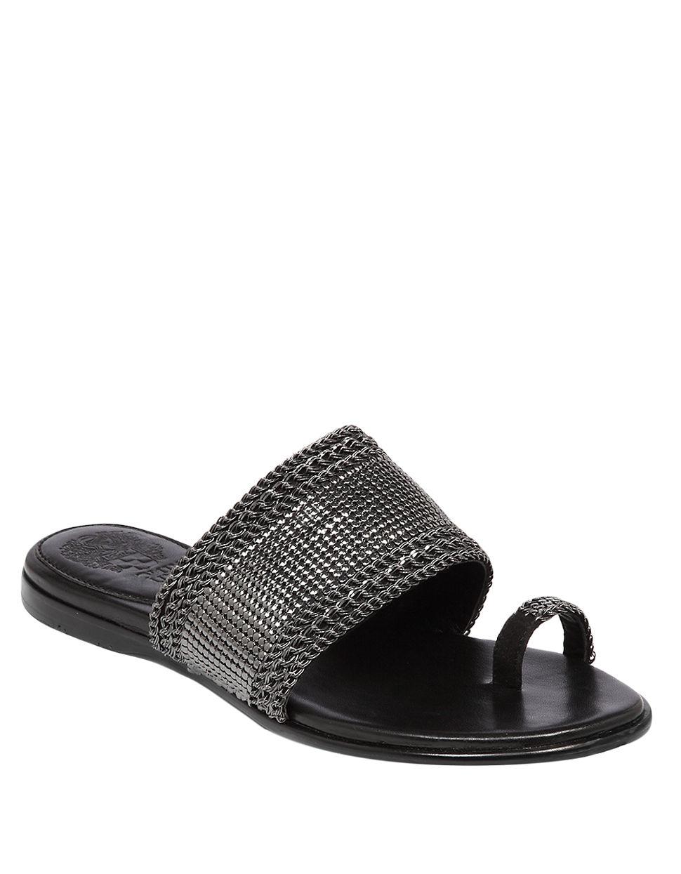 Vince Camuto Amalie Metal Slide Sandals In Black Lyst