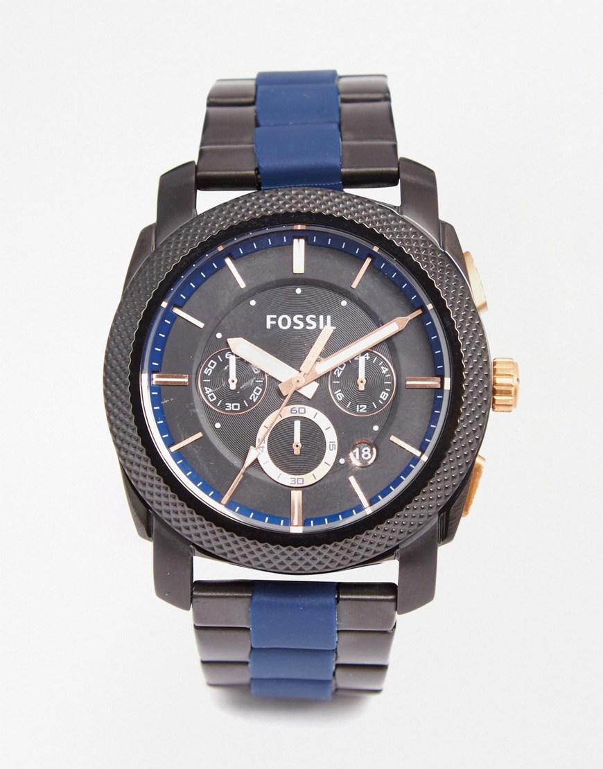 Fossil Machine Watch Fs5164 Blue In Black For Men Lyst