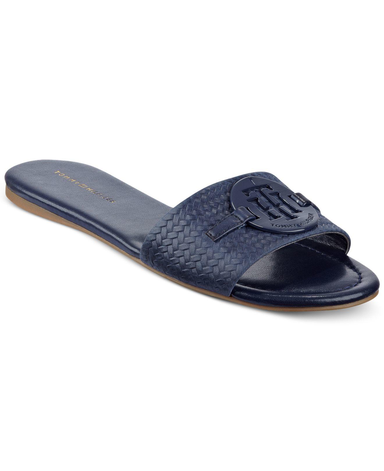 5f0b966ccf04c Lyst - Tommy Hilfiger Fabre Logo Slide-on Sandals in Blue