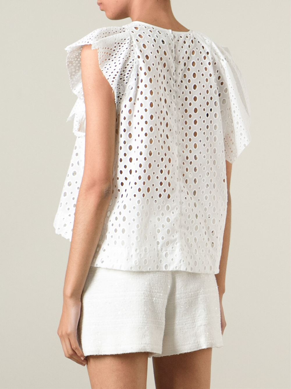 Buy Isabel Marant Women's White Eyelet-lace Elbow-sleeve Ramie Top. Similar products also available. SALE now on!
