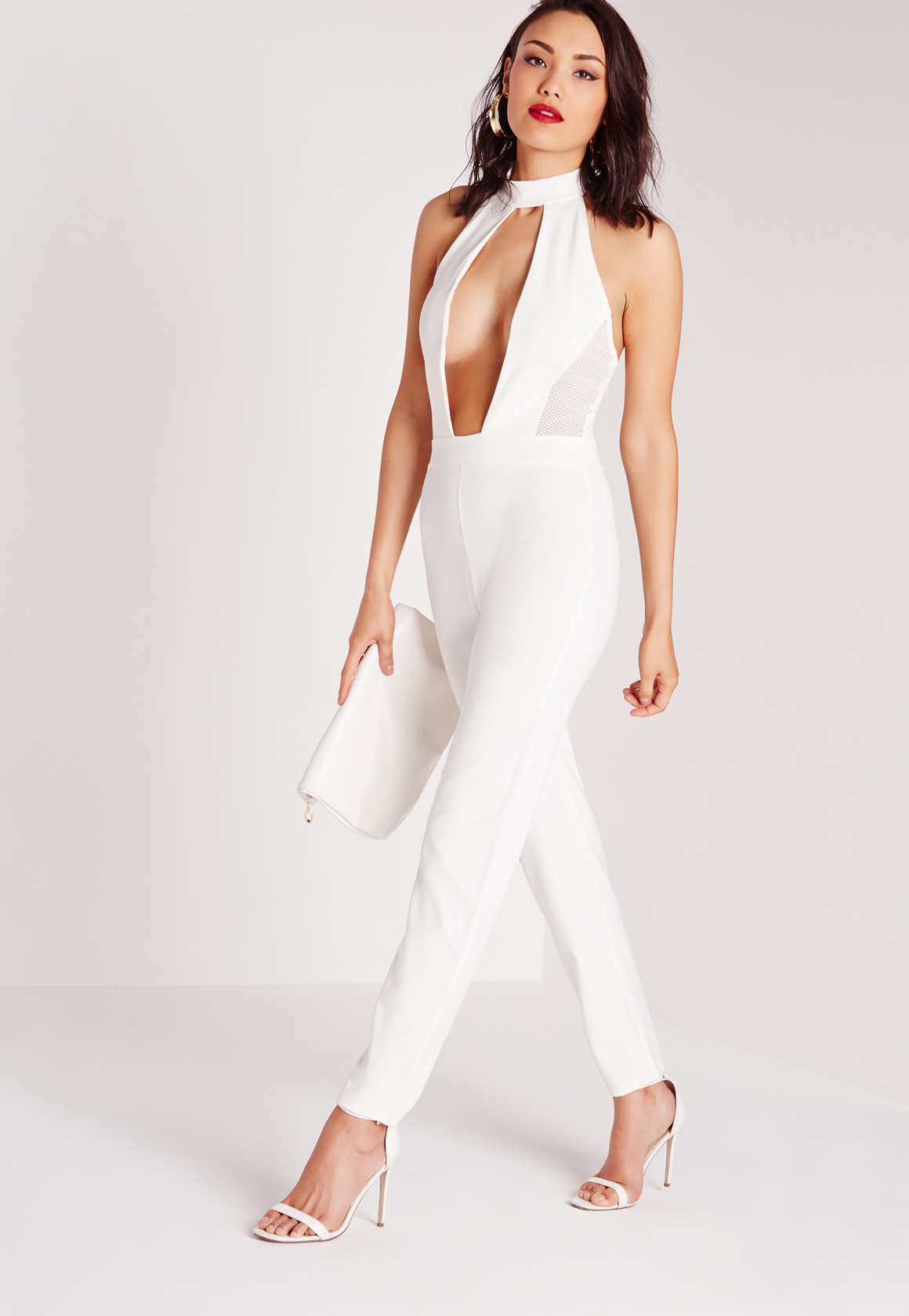 aea50c7cd516 Lyst - Missguided Mesh Extreme Plunge Choker Jumpsuit White in White