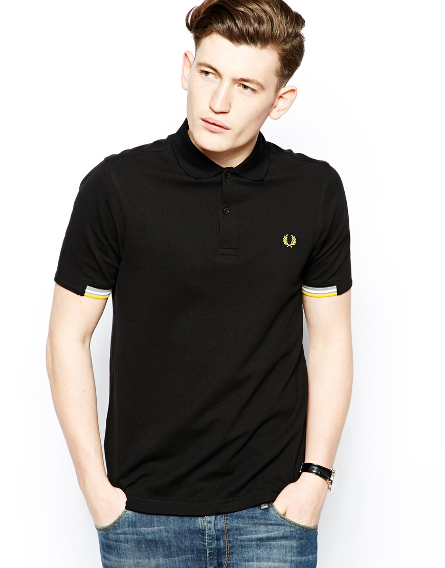 lyst fred perry polo with half tip sleeve in black for men. Black Bedroom Furniture Sets. Home Design Ideas