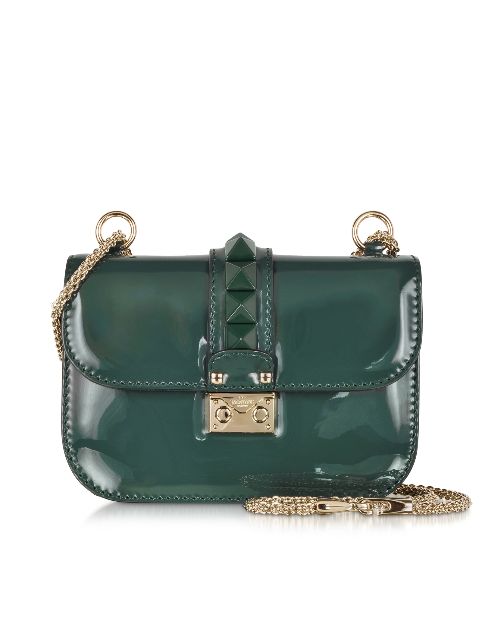 Valentino Rockstud Small Dark Green Leather Shoulder Bag