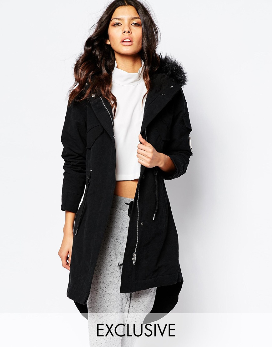 Nicce london Luxury Parka Coat With Fluffy Faux Fur Trim in Black ...