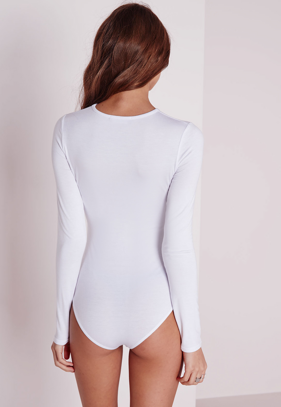 Missguided Jersey Long Sleeve Bodysuit White Lyst