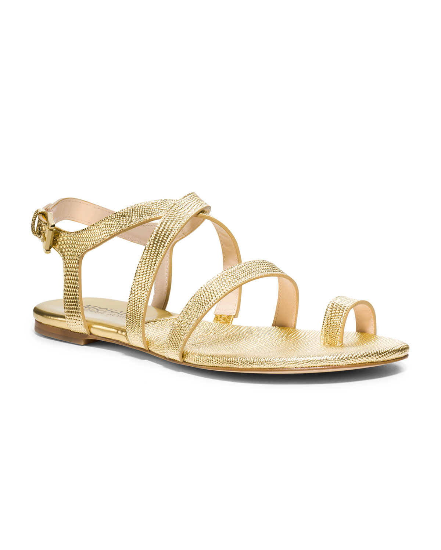 Lyst Michael Kors Arianna Toe Thong Sandal In Metallic