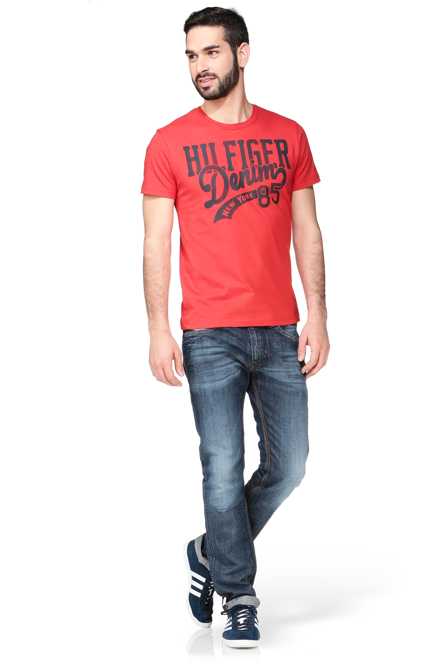 hilfiger denim red short sleeve t shirt 1957881058 hilfiger cn tee ss. Black Bedroom Furniture Sets. Home Design Ideas