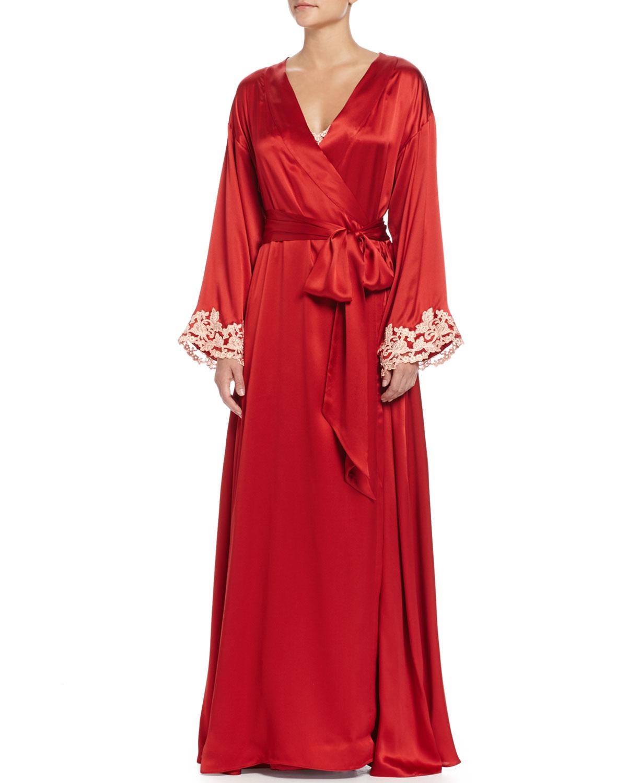Lyst La Perla Maison Lace Trim Long Robe In Red