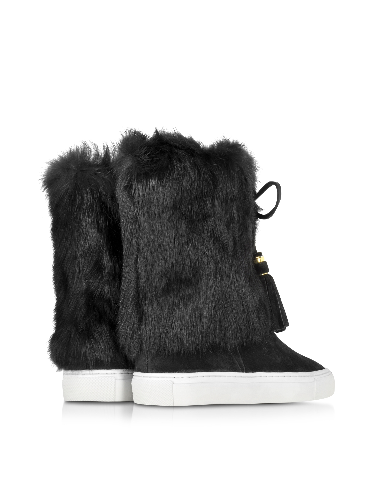 burch anjelica black suede and rabbit fur boots in