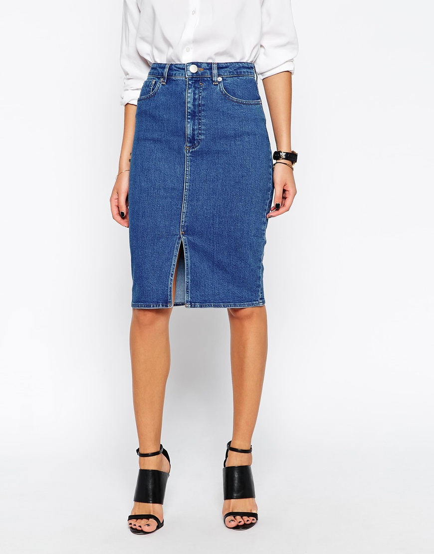 asos denim split front midi pencil skirt in midwash blue