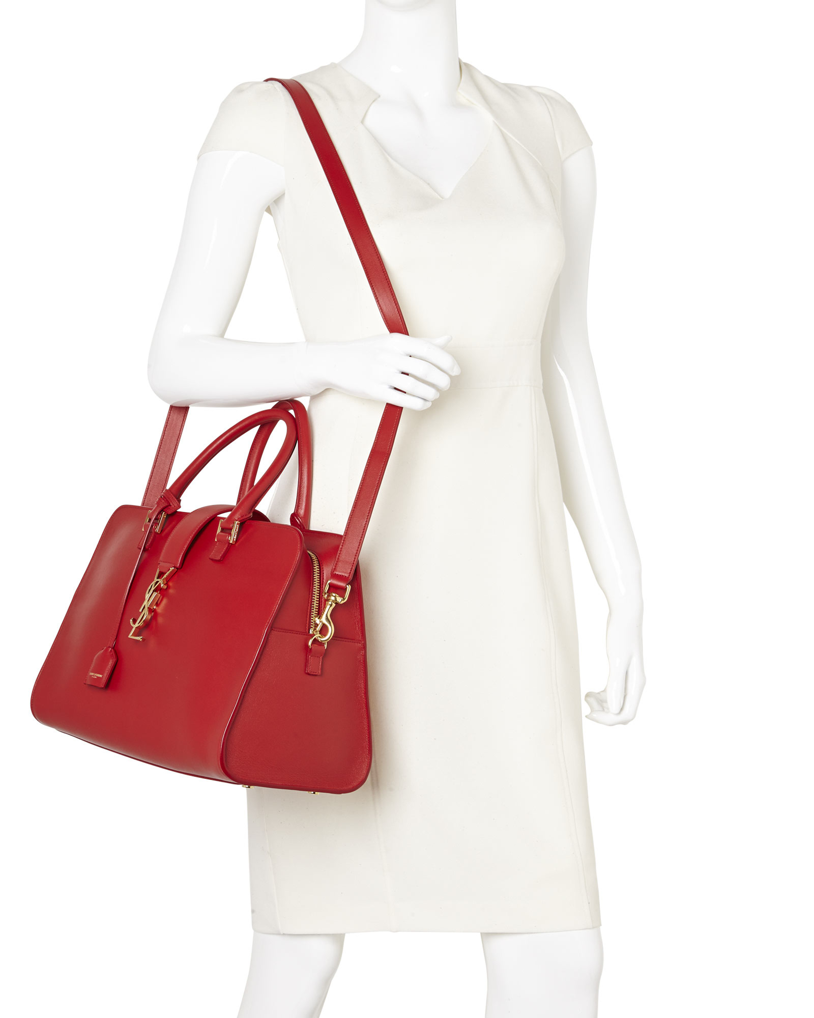yves saint laurent chyc leather shoulder bag - Saint laurent Lipstick Red Cabas Monogram Medium Bag in Red | Lyst