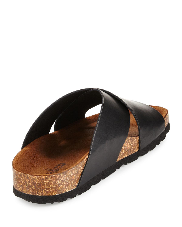 Lyst - Neiman Marcus Brenda Crisscross Slide Sandal in ...