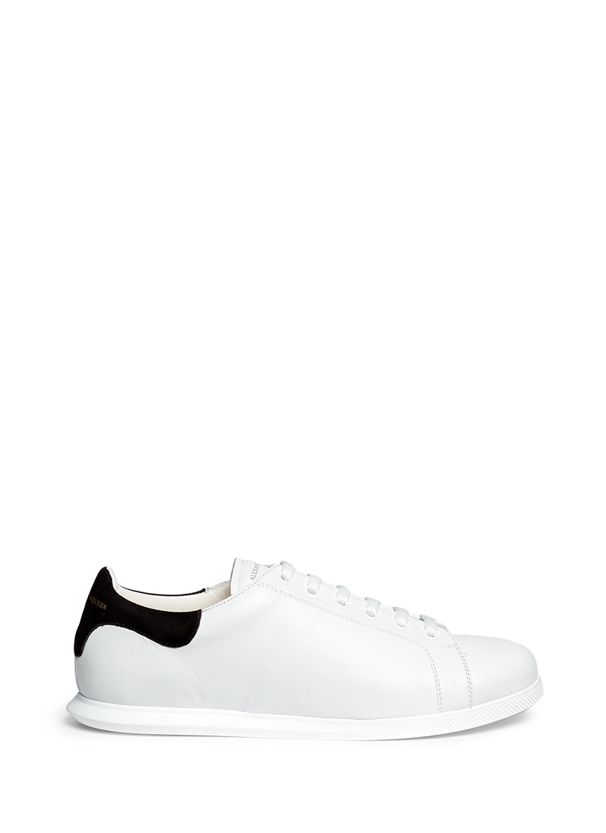 Lyst Alexander Mcqueen Suede Collar Leather Sneakers In