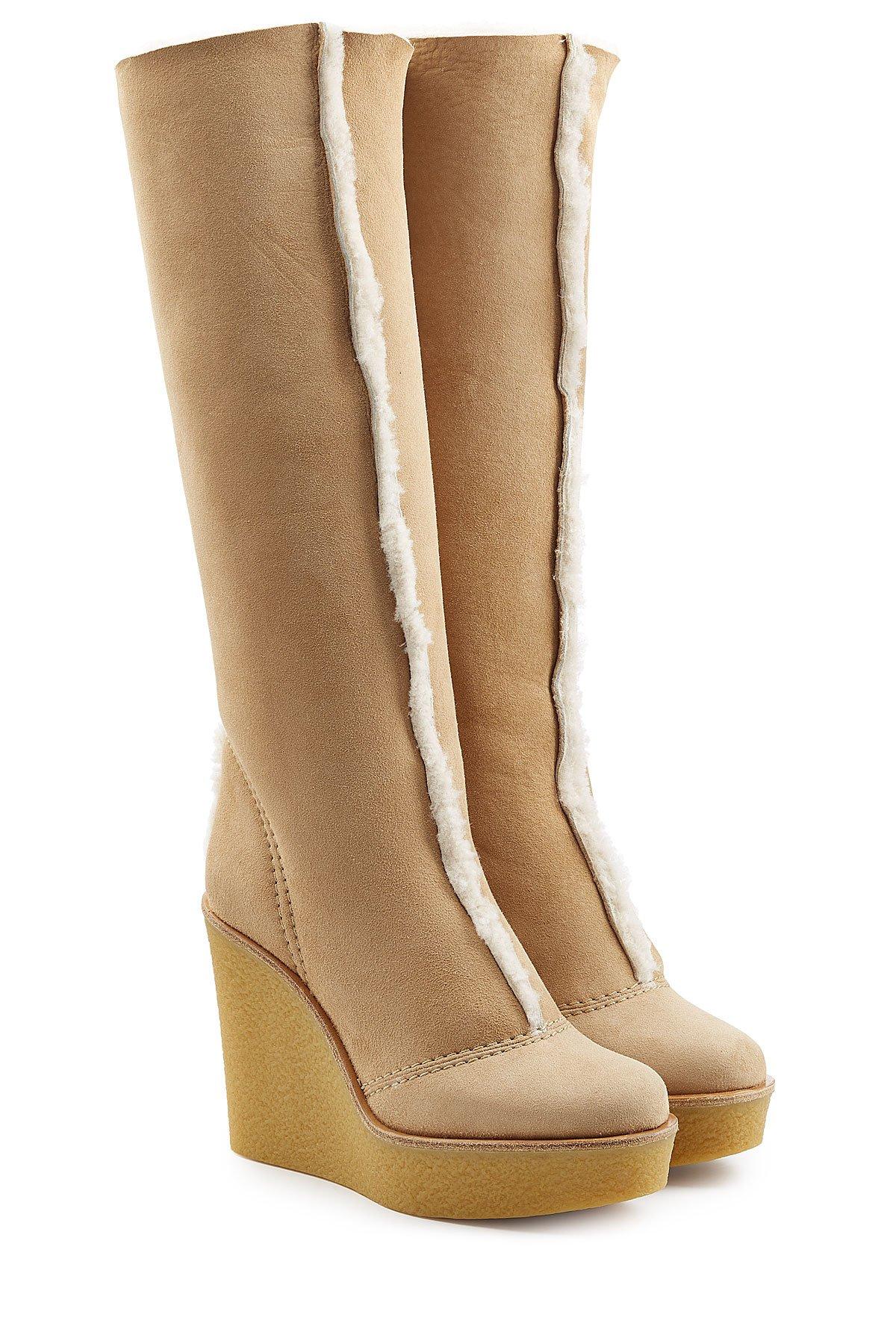 chlo chlo shearling knee boots beige in brown lyst. Black Bedroom Furniture Sets. Home Design Ideas