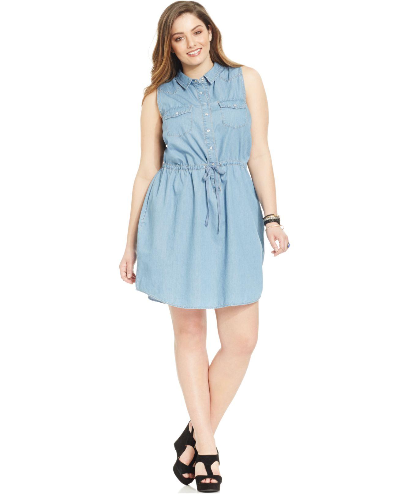 Plus Size Sleeveless Chambray Shirtdress