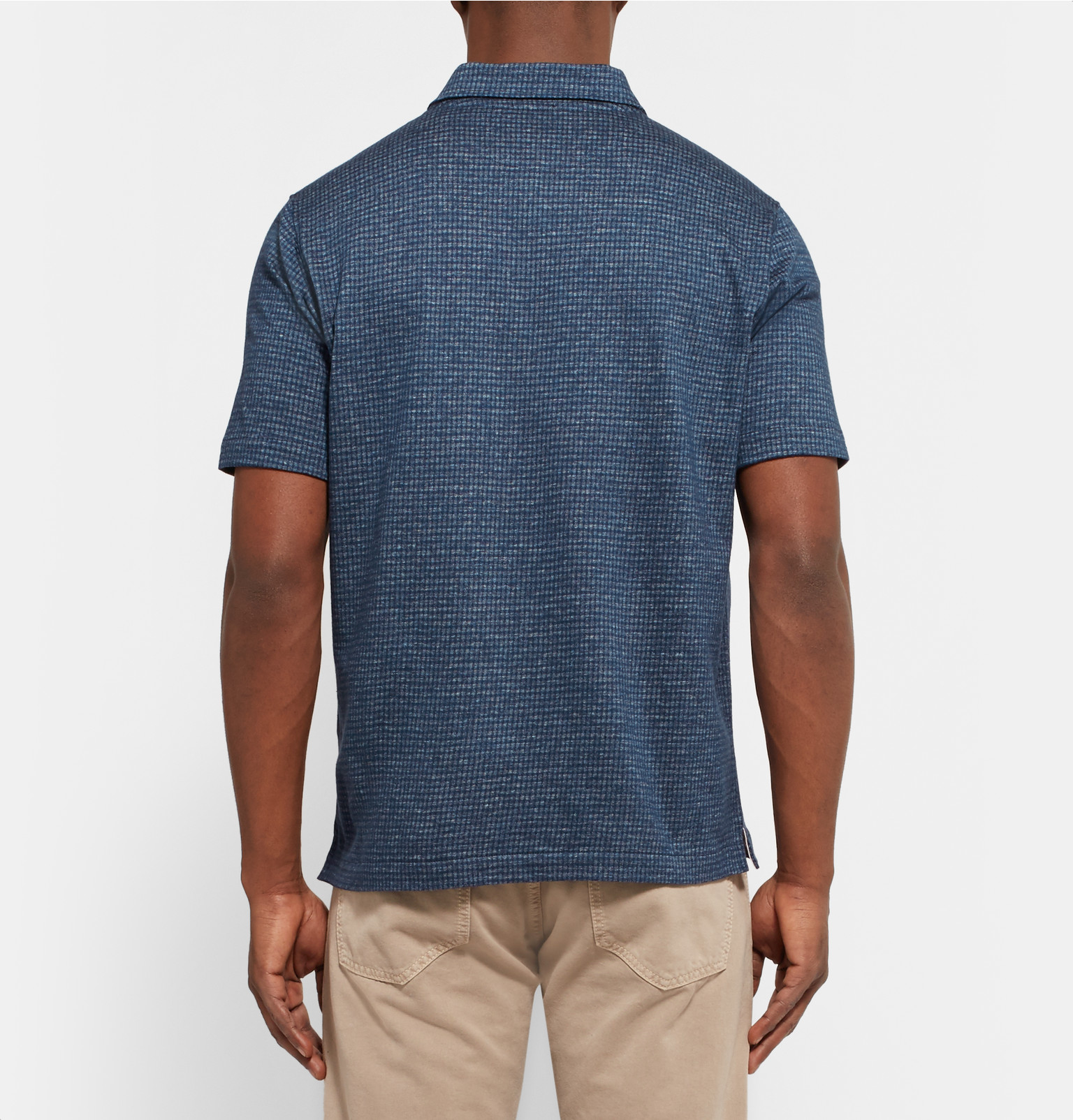 Isaia Slim Fit Patterned Knitted Cotton Polo Shirt In Blue