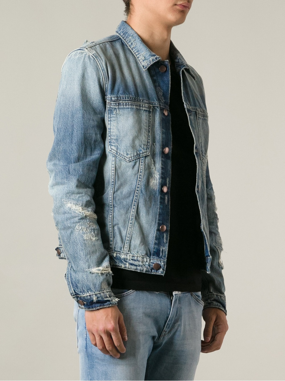 Closed Distressed Denim Jacket in Blue for Men