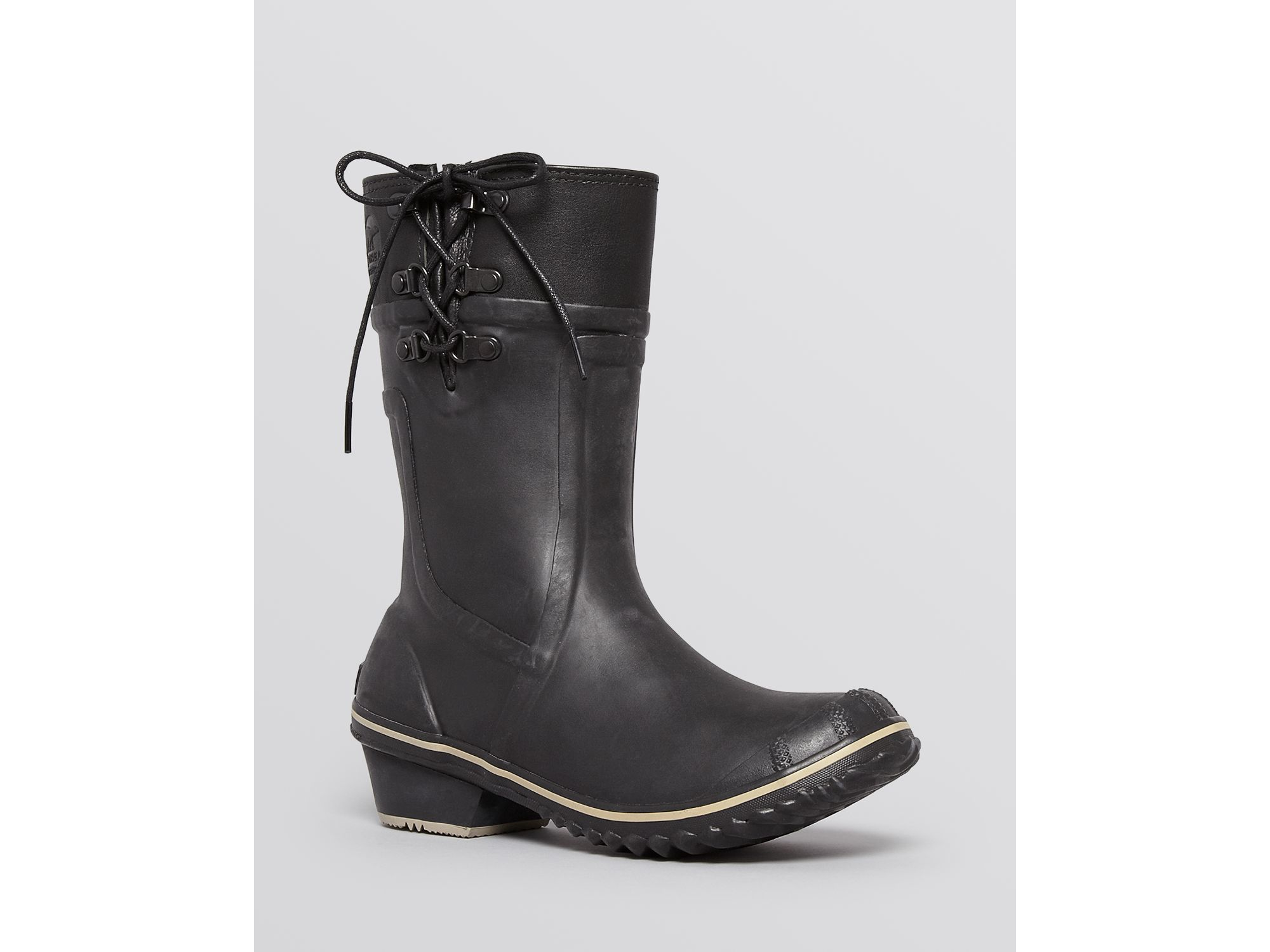 Sorel Waterproof Rubber Cold Weather Boots - Conquest�?Carly Glow in Black/Silver Sage (Black)