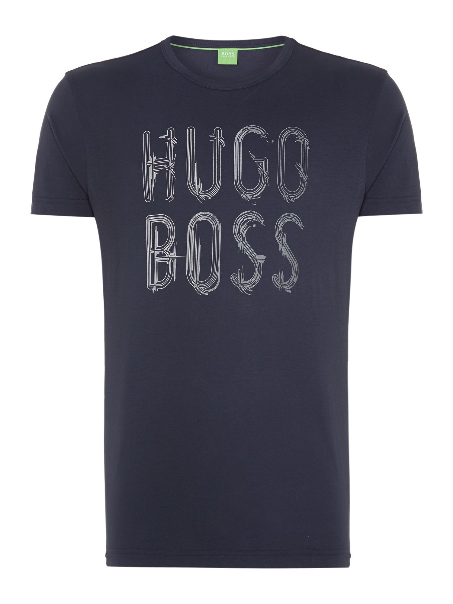 Boss scratchy print logo t shirt in blue for men lyst for Print logo on shirt