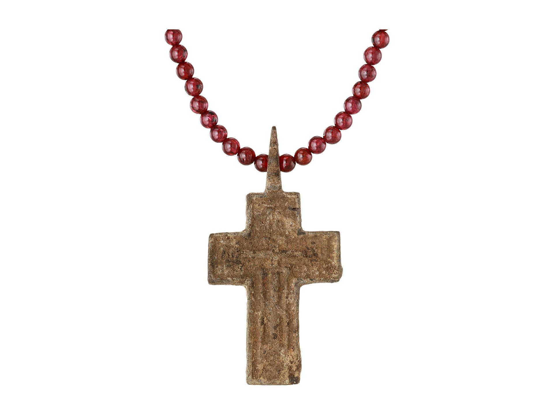 King Baby Studio Red Authentic Byzantine Cross Pendant On 26