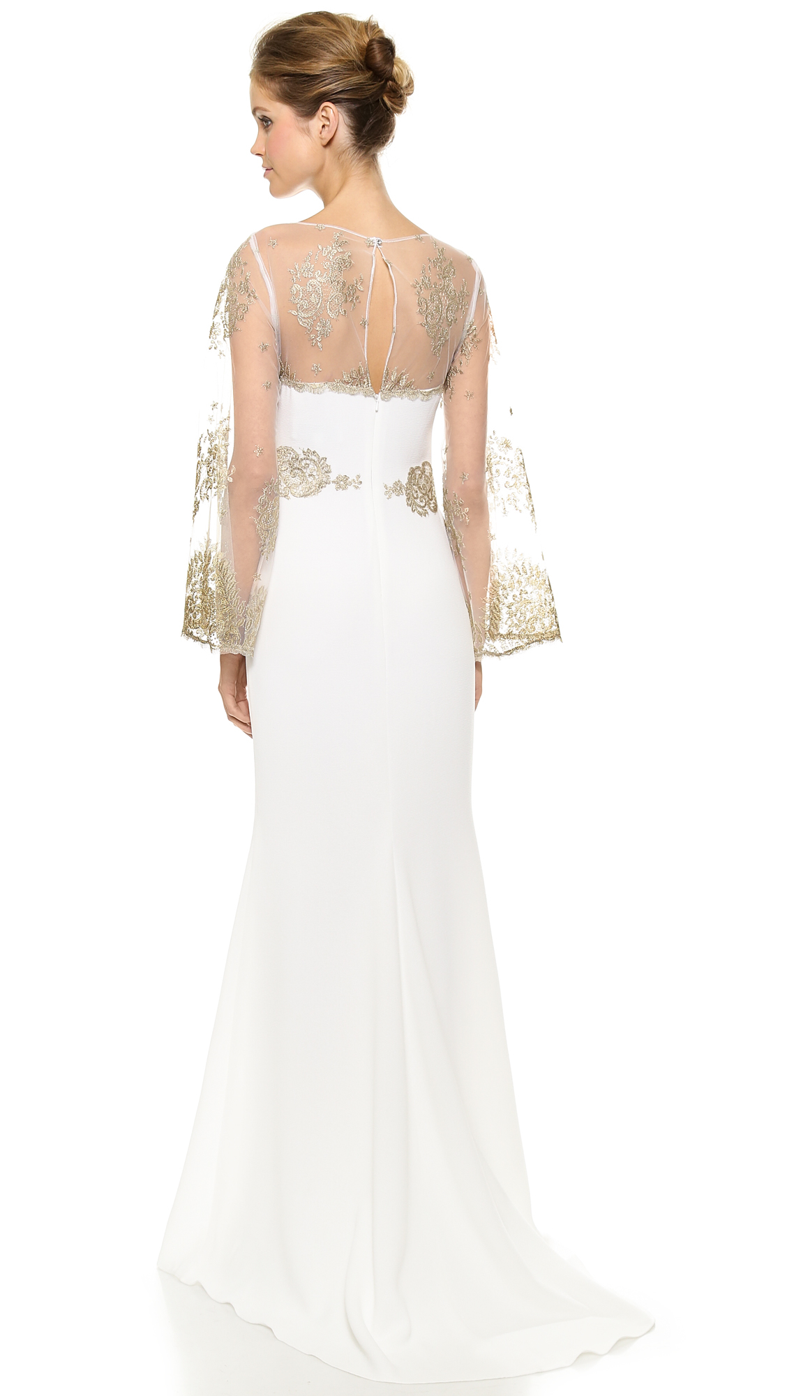 Badgley Mischka Bell Sleeve Gown in White - Lyst