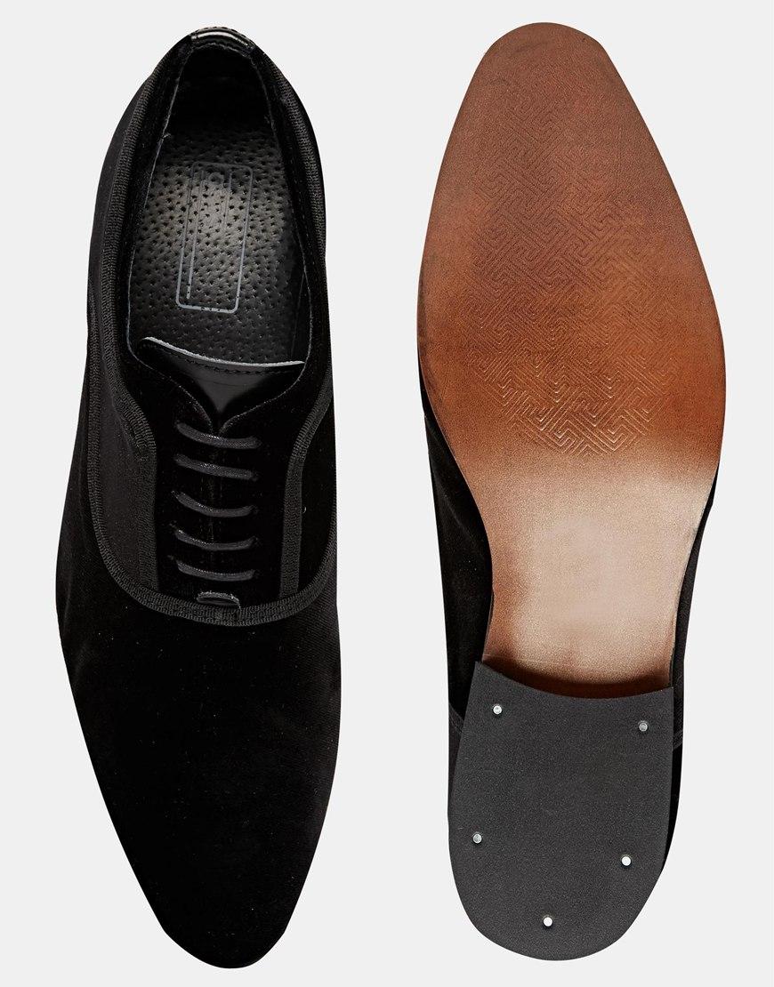 Lyst - Asos Oxford Shoes In Velvet In Black For Men