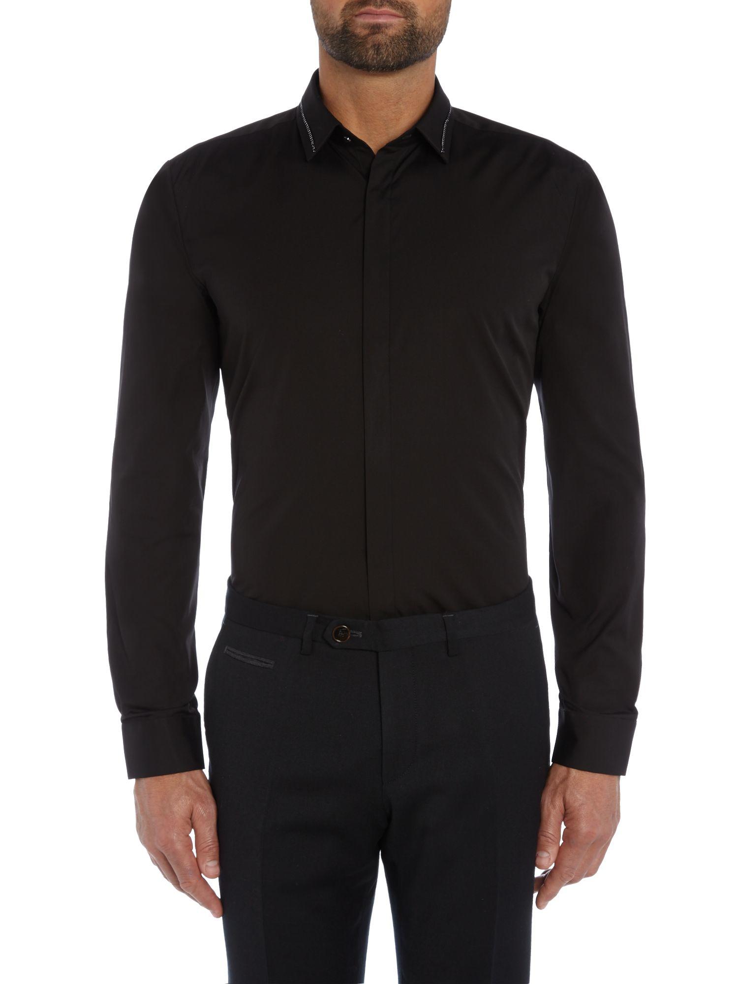 hugo slim fit tape detail shirt in black for men lyst. Black Bedroom Furniture Sets. Home Design Ideas