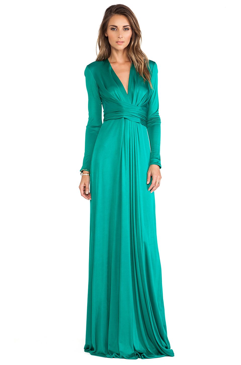 Issa Florence Long Sleeve Maxi Dress in Green (Jade) | Lyst
