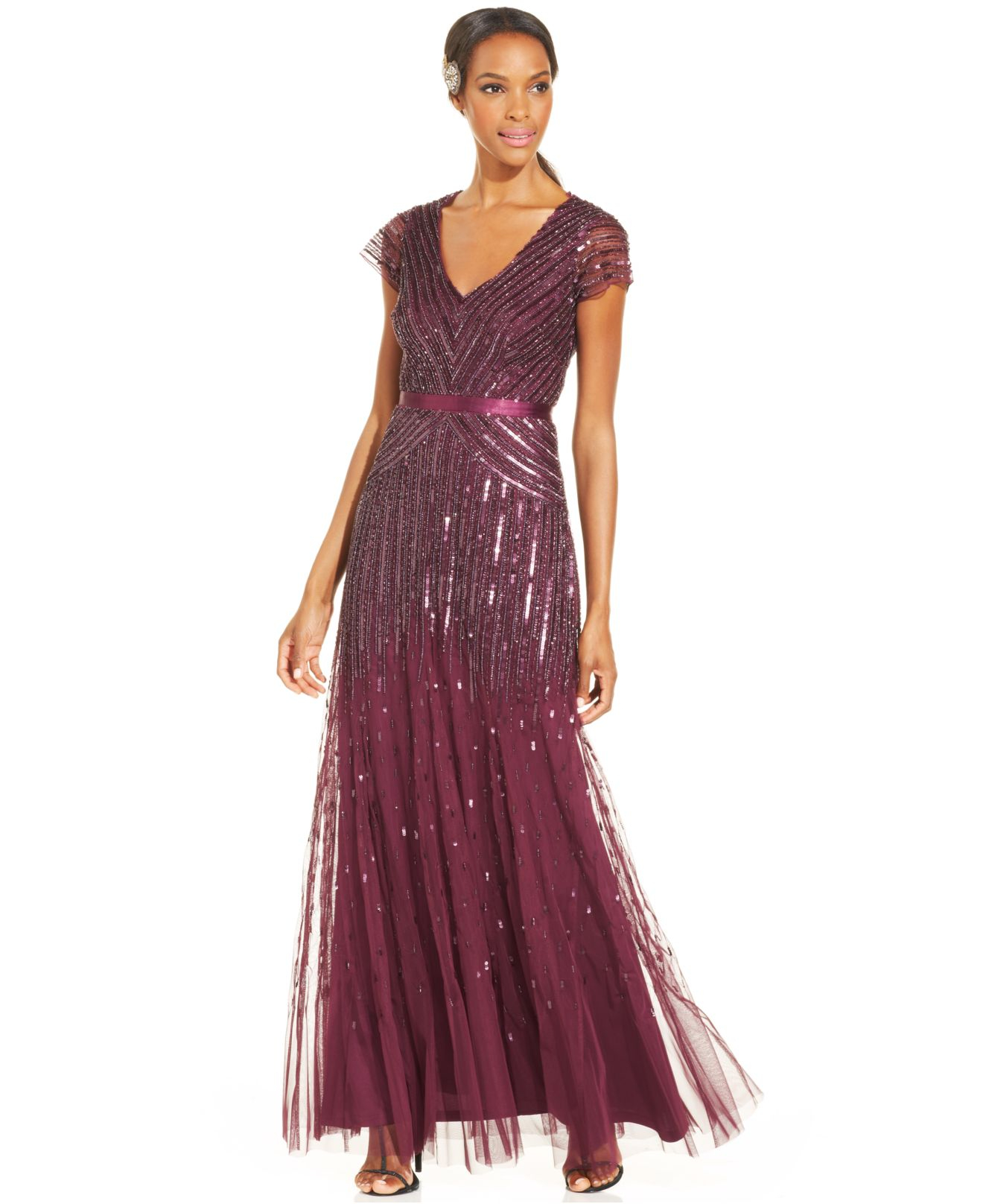 Lyst - Adrianna Papell Cap-sleeve Beaded Sequined Gown in Pink