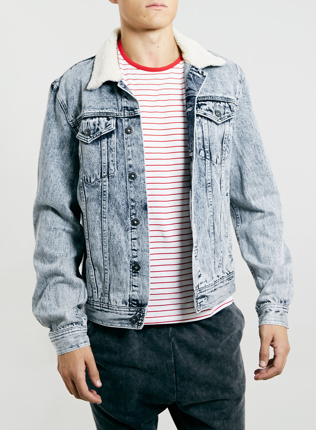 Lyst Topman Acid Wash Borg Collar Denim Western Jacket In Blue For Men
