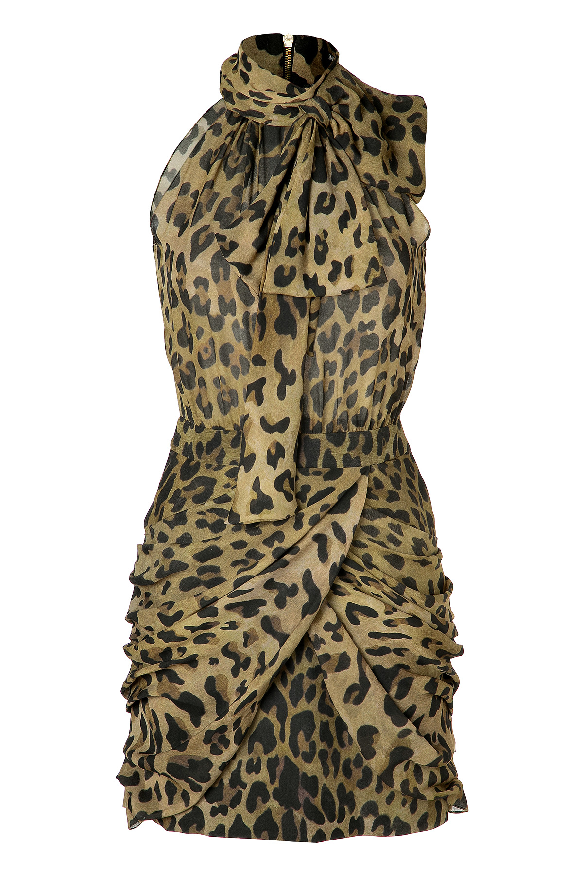 Balmain Silk Leopard Print Cocktail Dress - Lyst