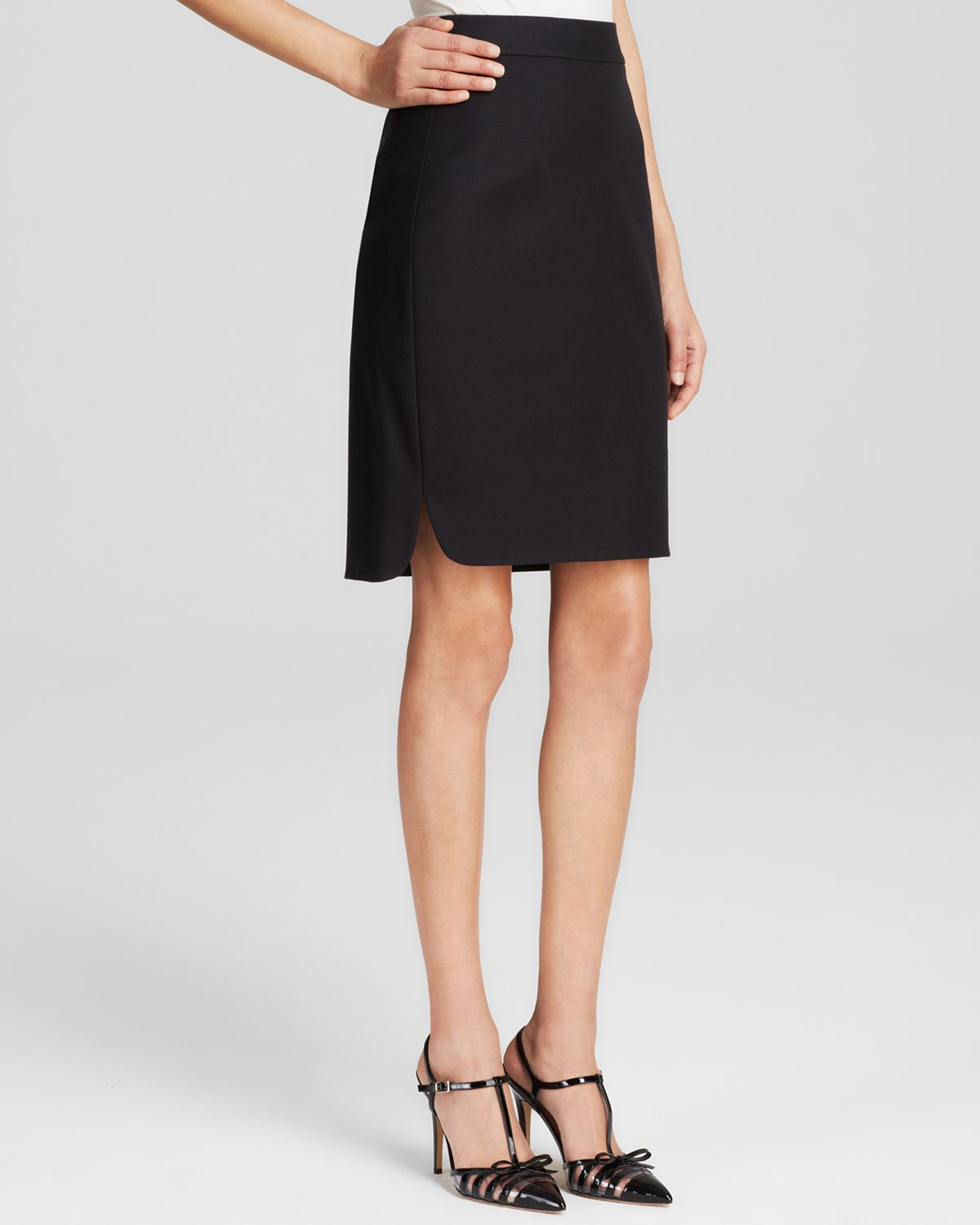 kate spade cotton twill pencil skirt in black lyst