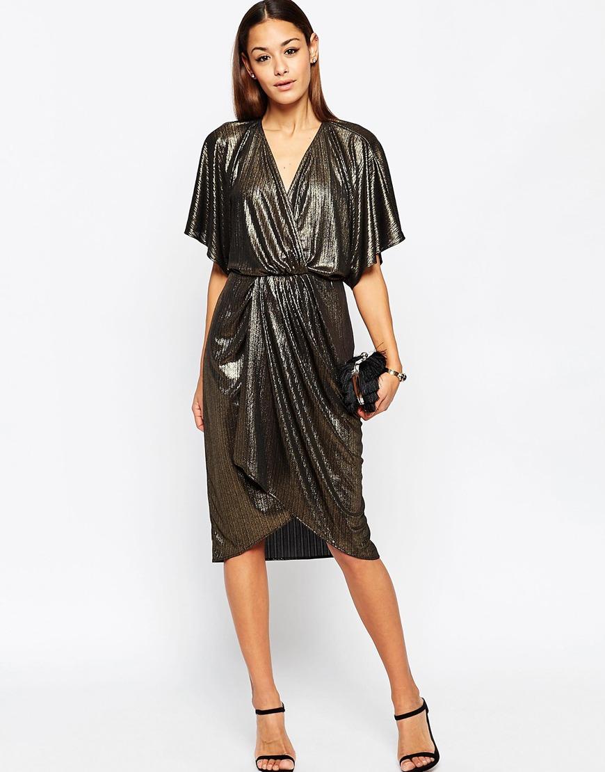Asos Metallic Wrap Kimono Midi Dress In Gold Lyst