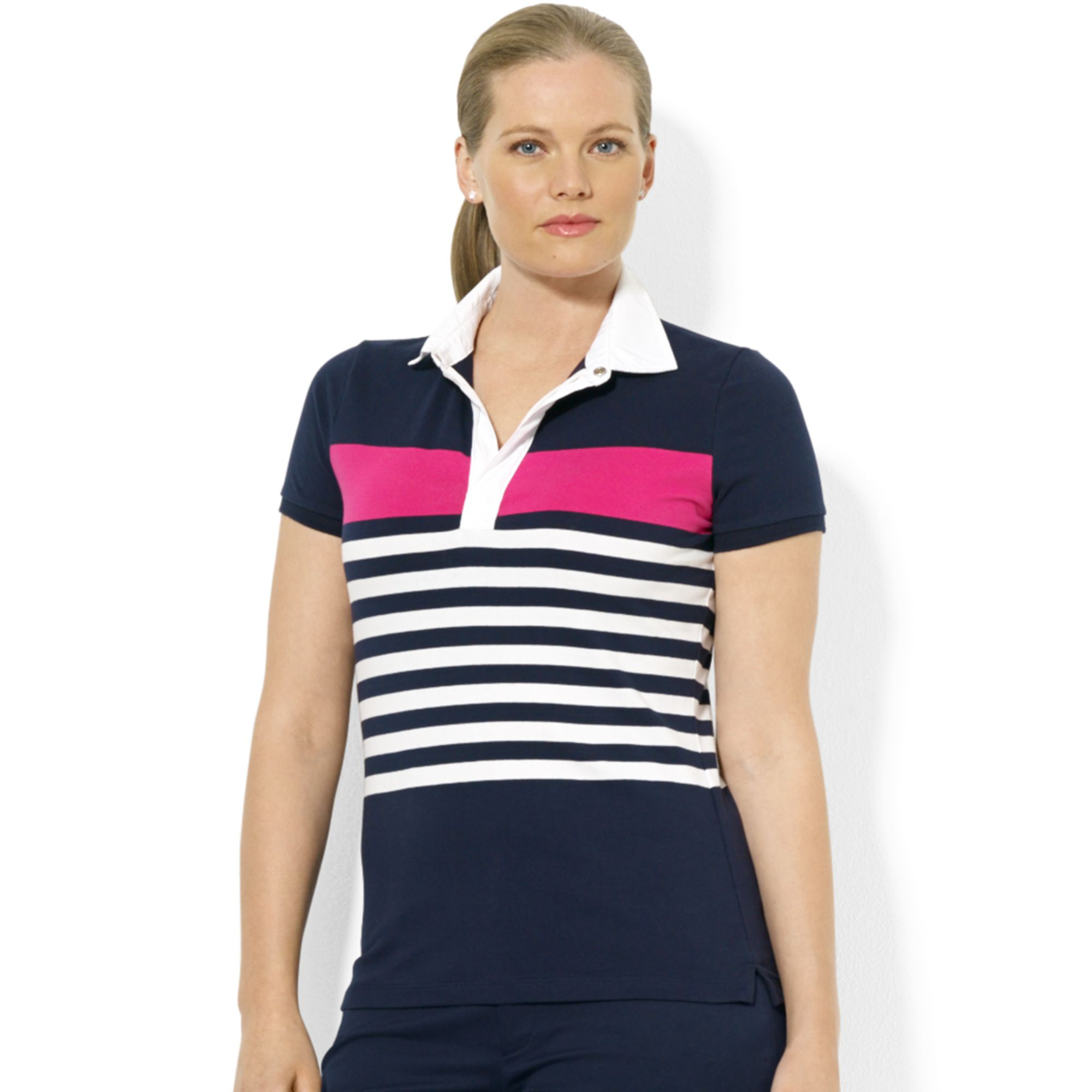 Lauren By Ralph Lauren Plus Size Shortsleeve Striped Polo