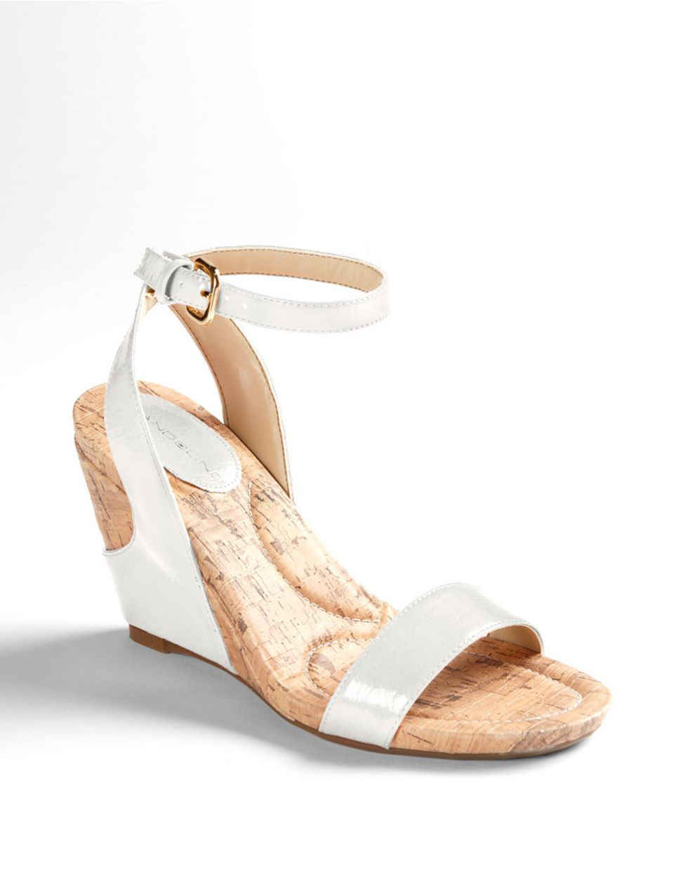 a6930363499f Bandolino Modern Girl Wedge Sandals in White - Lyst