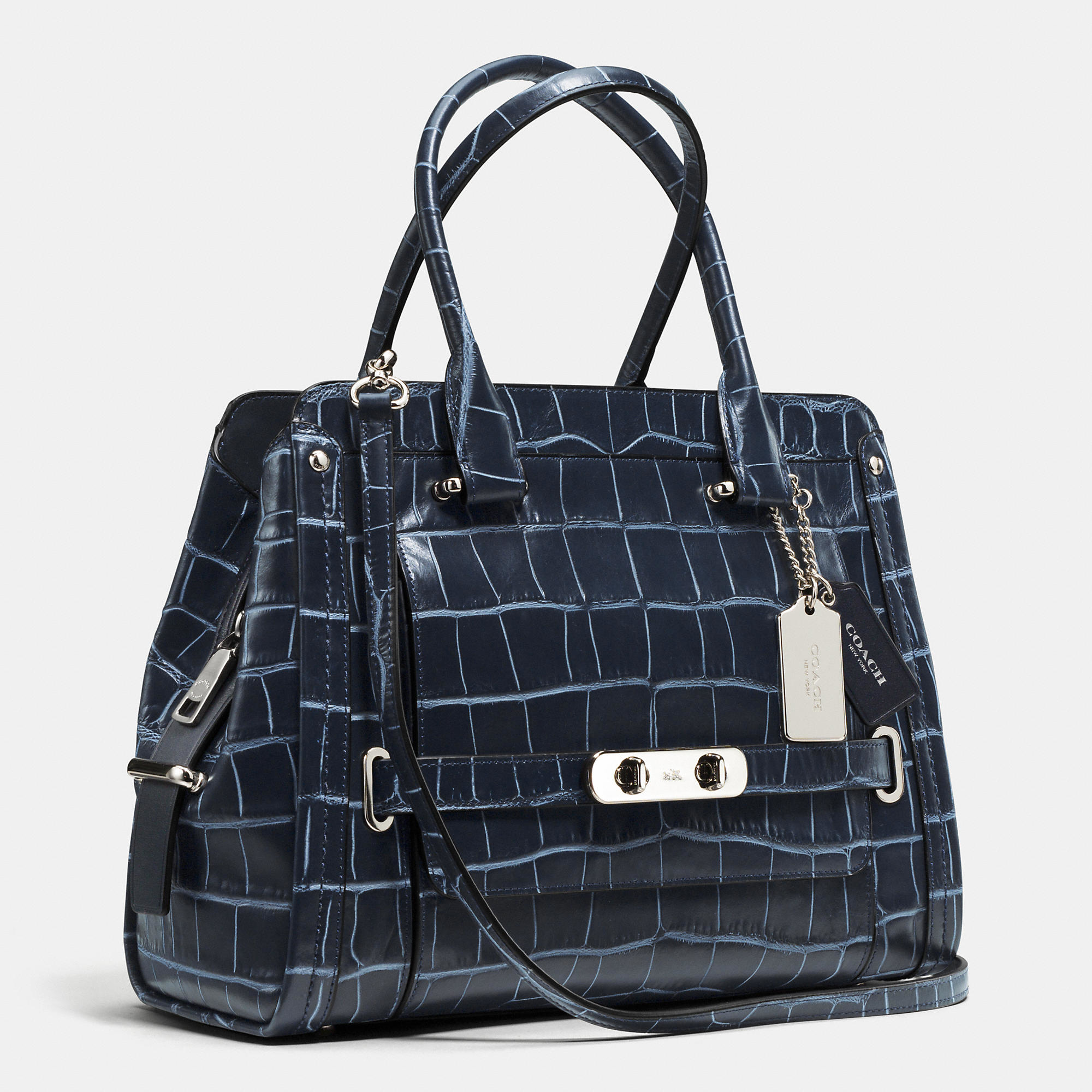 Coach Swagger Frame Satchel In Denim Croc Embossed Leather