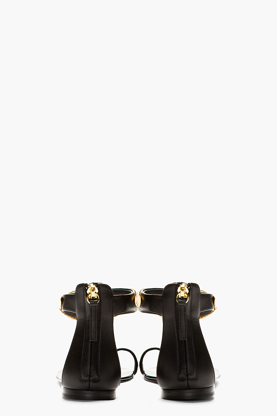 Giuseppe Zanotti Black Nuvorock Gold Leaf Flat Sandals Lyst