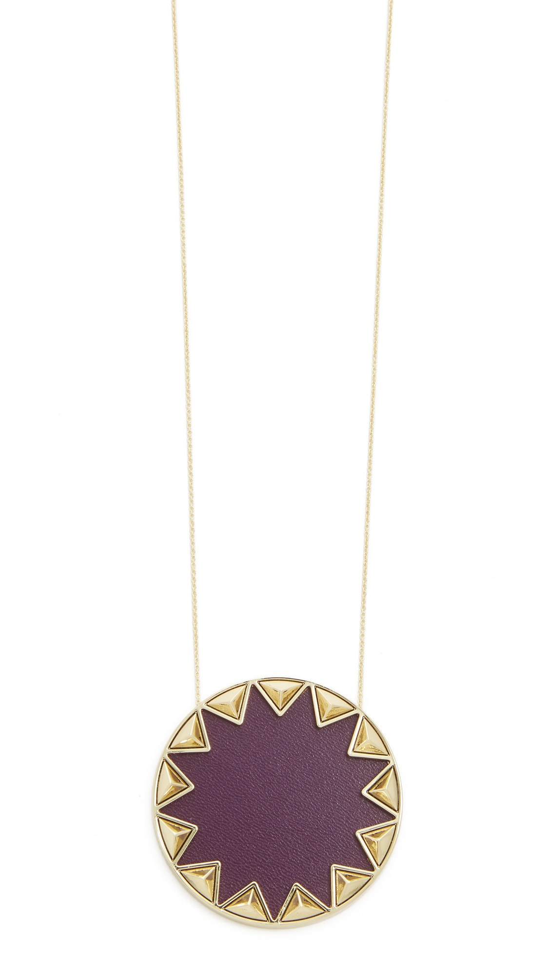 House of Harlow 1960 Leather Sunburst Pyramid Pendant Necklace in Violet/Gold (Purple)