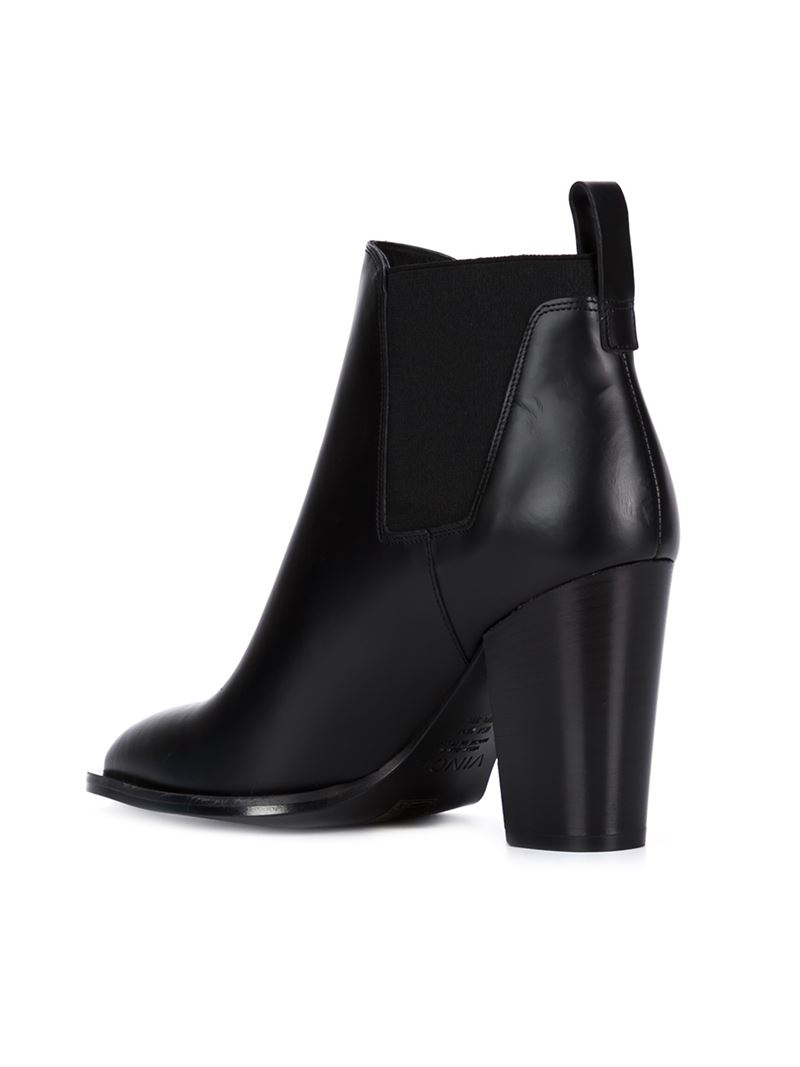 Vince Leather Elasticated Panel Ankle Boots in Black