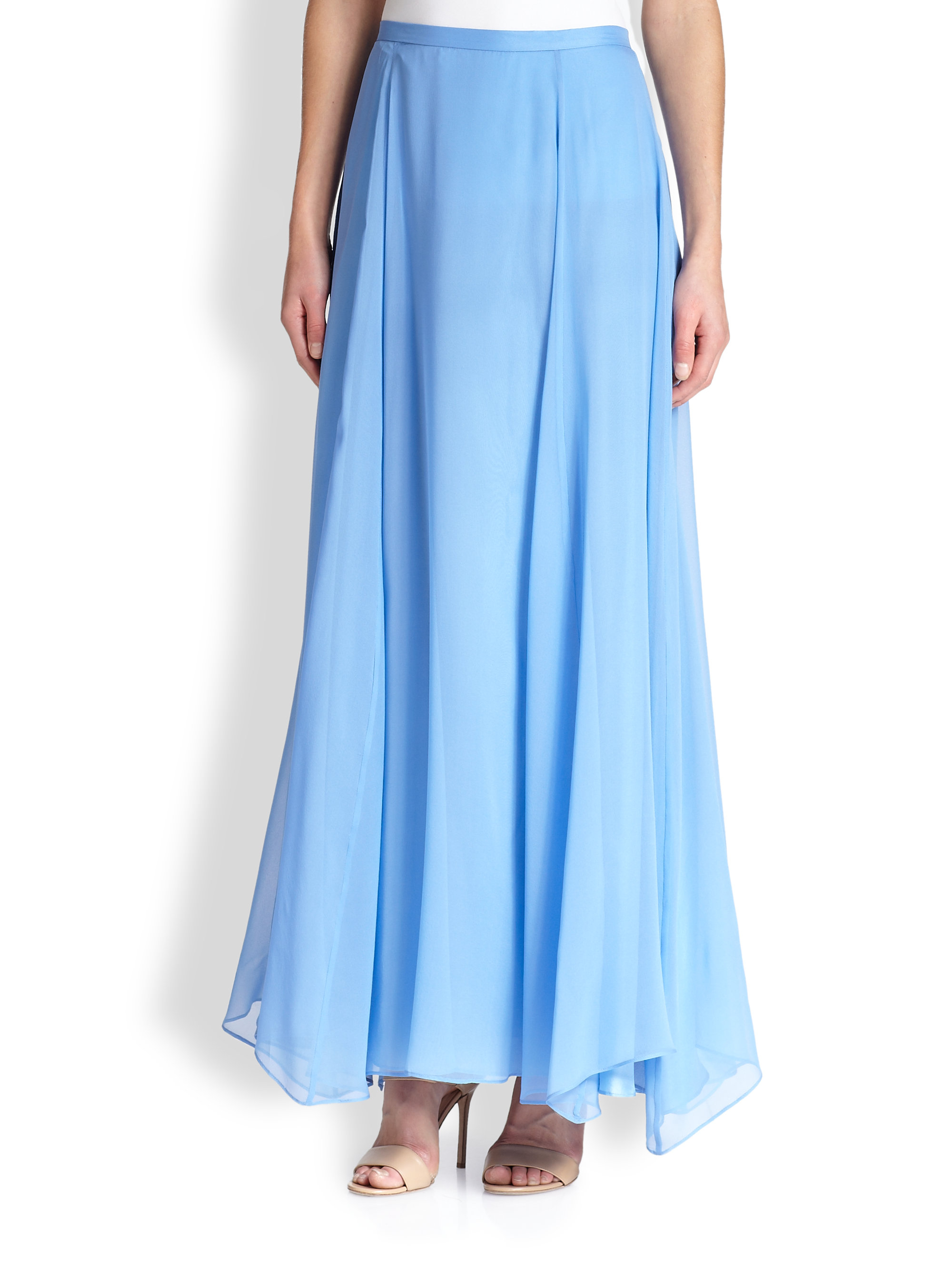 by silk flared maxi skirt in blue