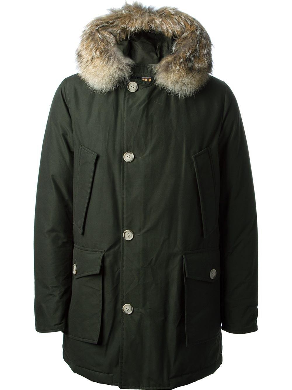 woolrich fur detail padded coat in green for men lyst. Black Bedroom Furniture Sets. Home Design Ideas