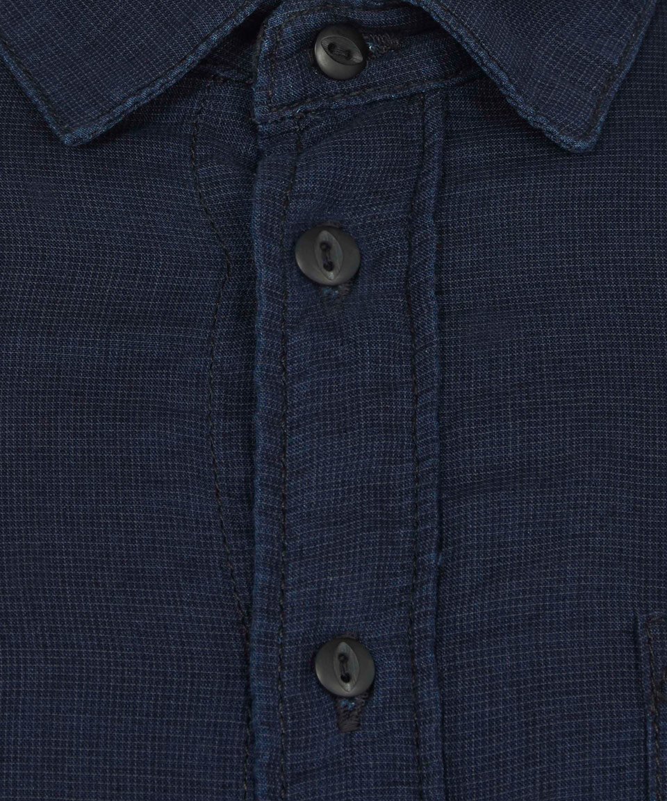 Nudie Jeans Denim Indigo Henry Dark Checked Shirt in Blue for Men