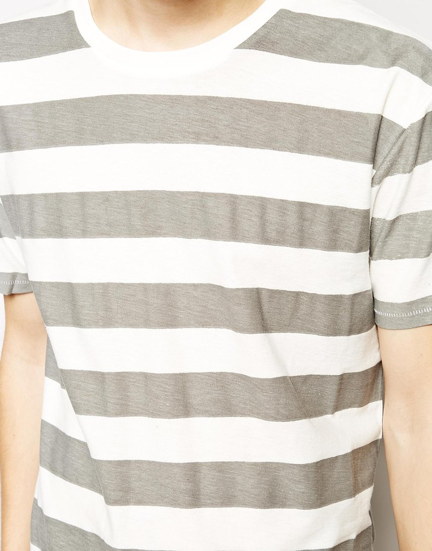 Lyst cheap monday striped t shirt in gray for men Grey striped t shirt
