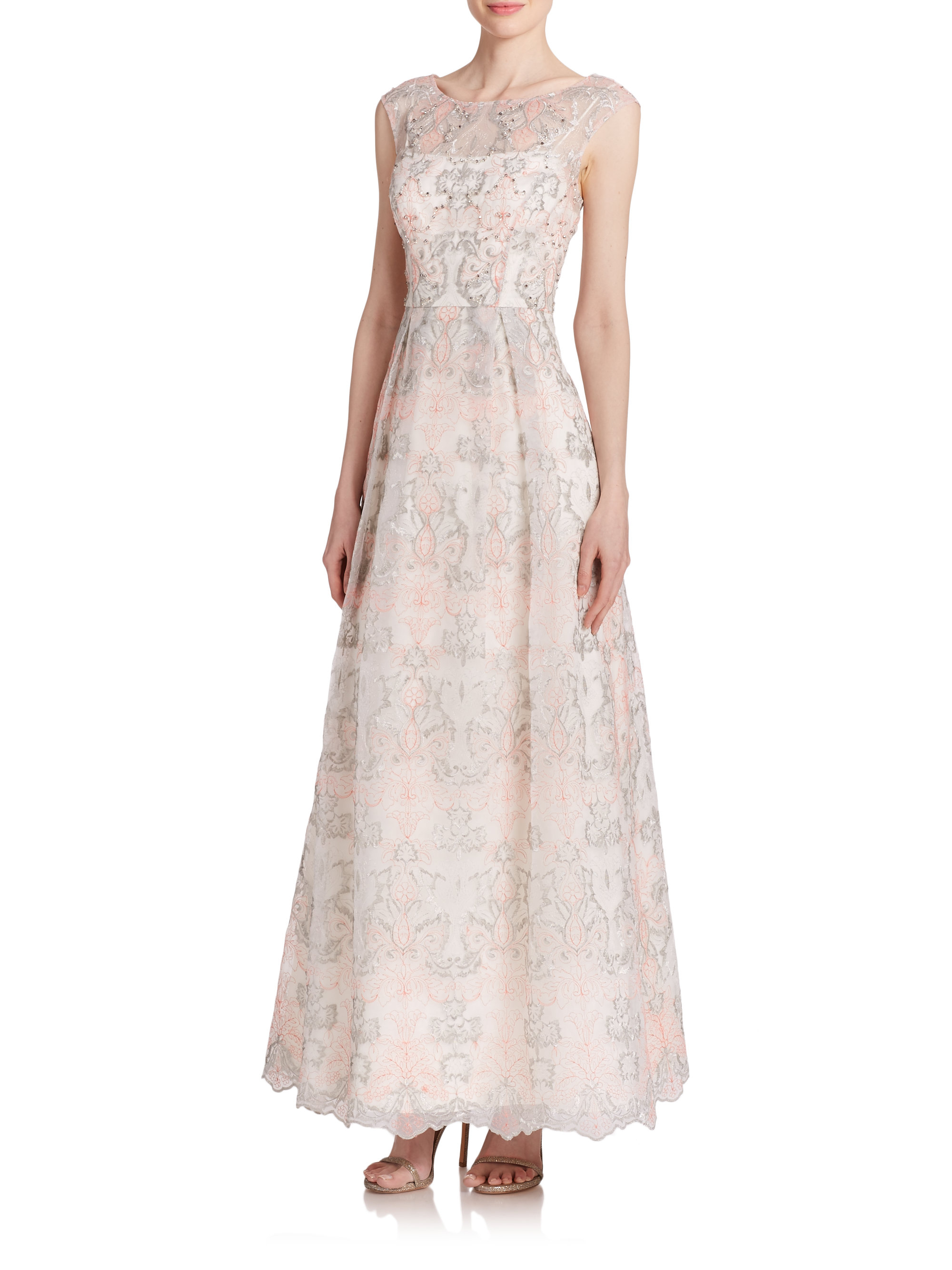 Lyst - Kay Unger Floral Lace Gown in Pink